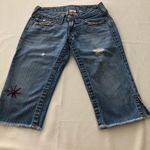 True Religion boyfriend shorts, with beads Sz 25